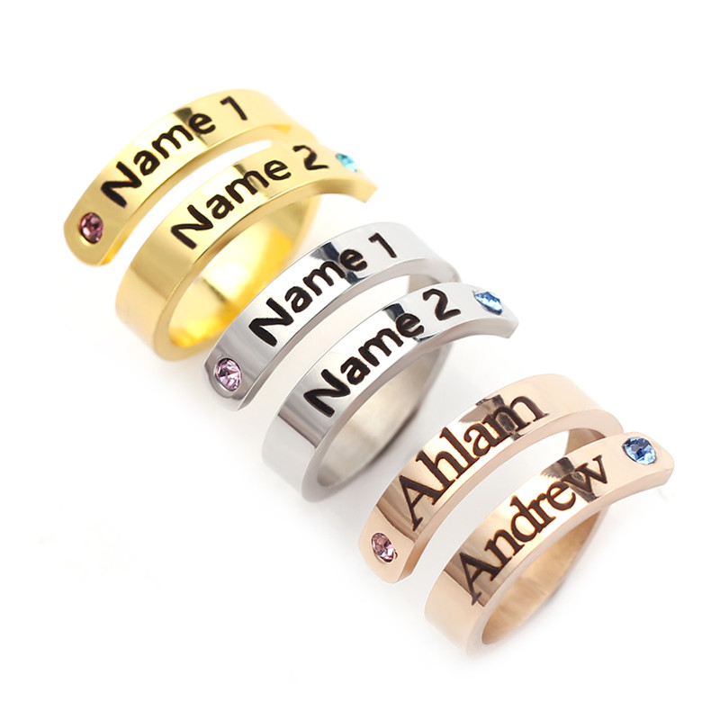 Adjustable Rings Jewelry Birthstone Engraved Ceremony Names Stainless-Steel Custom-Month