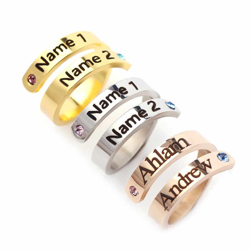 ส่วนบุคคล Birthstone แกะสลักที่กำหนดเอง 2 ชื่อแหวนสแตนเลสที่กำหนดเองเดือนเครื่องประดับสำหรับพิธีผู้ใหญ่ของขวัญ