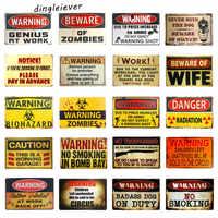 DL-Warning  poster Vintage Enameled Metal tin signs art wall plaque