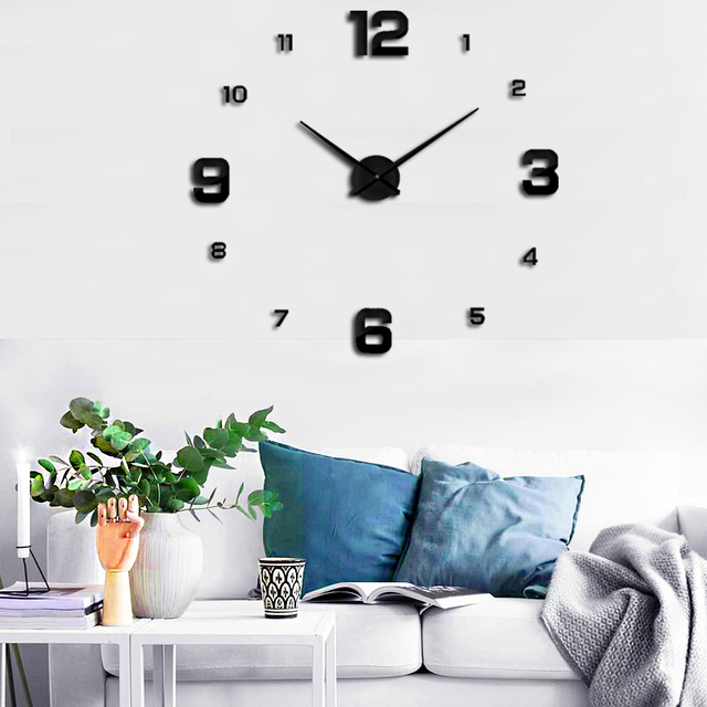 2019 Large 3D Acrylic Modern Design Digital Wall Clock Clock Home Decor Living Room Quartz Free Shipping