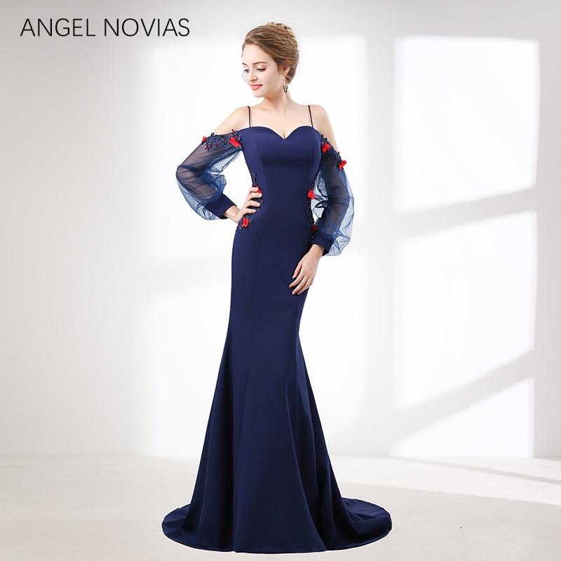 ANGEL NOVIAS Long Elegant Navy Blue Korea Evening Dress 2018 Backless Formal Evening Gown vestidos elegantes largo