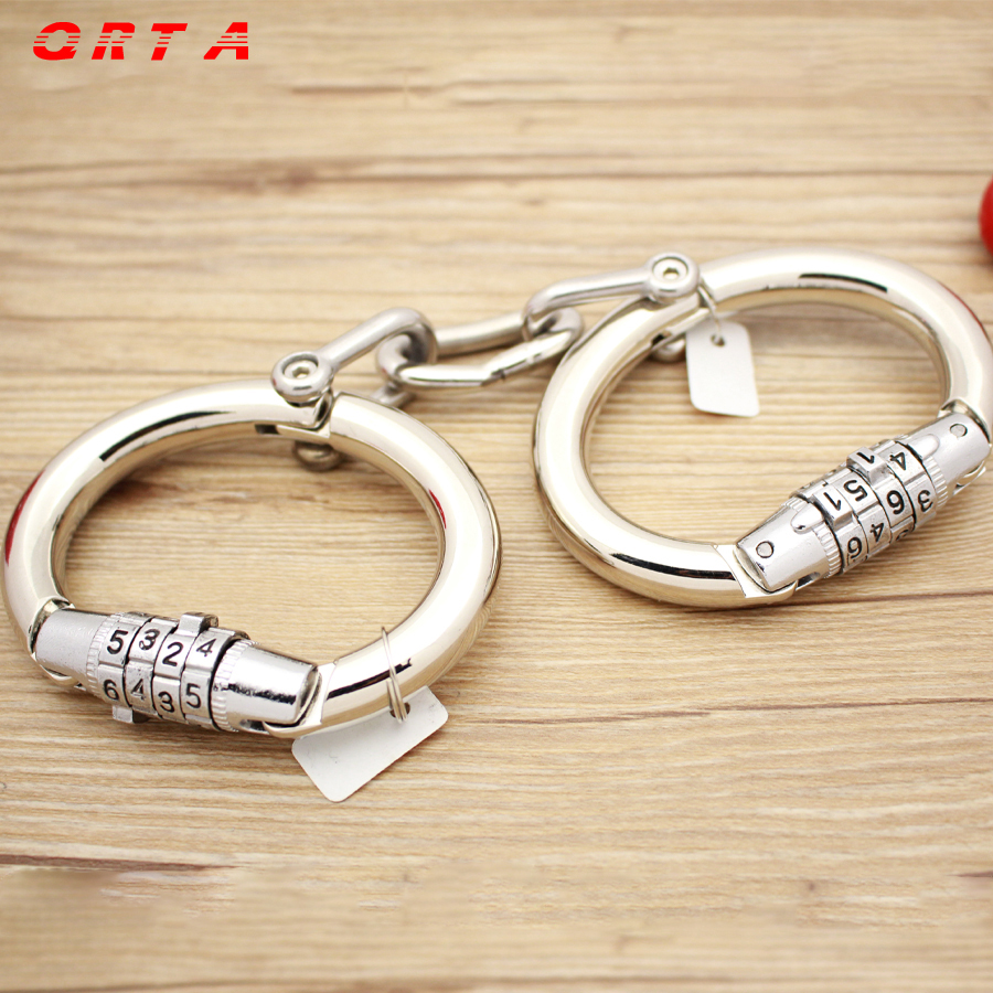 QRTA alloy Handcuffs Metal Wrist Cuffs Locking Bondage Sex Games For Married Couples For Women  Toys For Gay Strap On smspade blue leather restraints wrist cuffs for adult sex soft and durable adjustable bondage handcuffs with metal chain