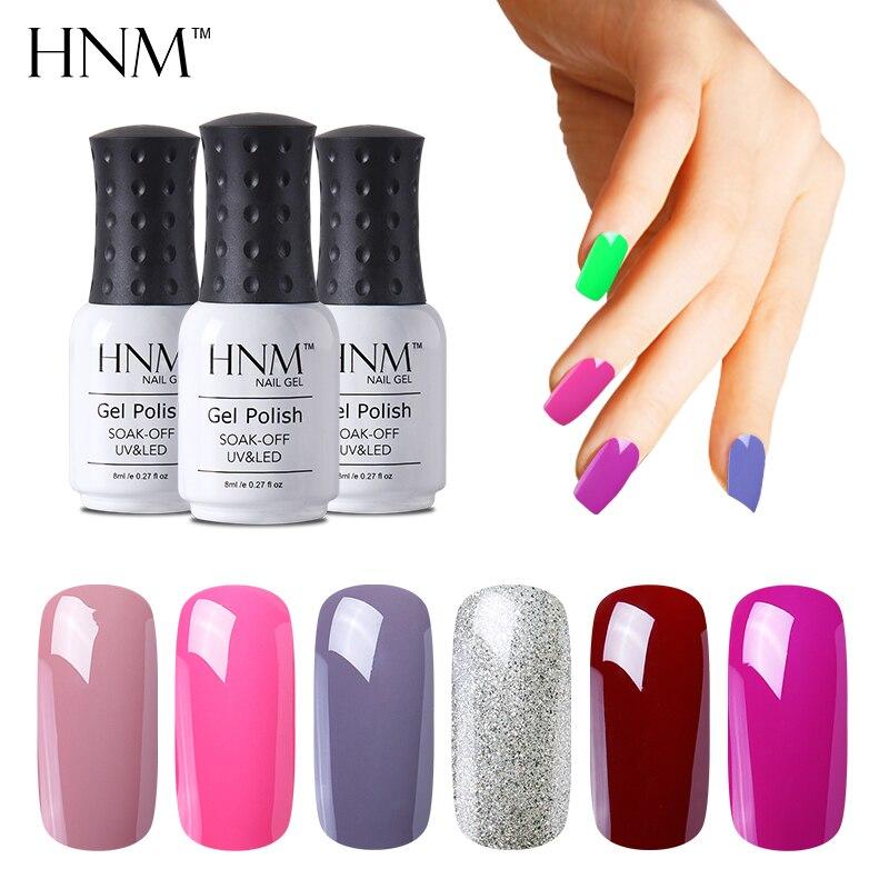 Hnm 8 мл 194 Цвета Гели для ногтей UV LED лампа гибрид гель Лаки Lucky гель лак гелевая soak off полу постоянный GelPolish