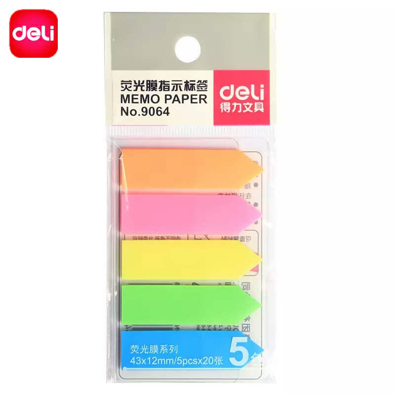 Deli 5 Colors Sticky Note Memo Pad Paper Post Notepad Filofax Index Bookmark Office Supplies School Stationery 43x12mmx 20sheets