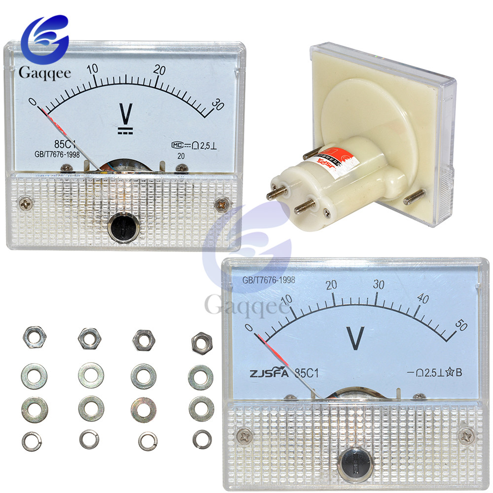 85C1 DC Analog Pointer Voltage Meter Panel 30V 50V Gauge Voltage Mechanical Voltage Meters