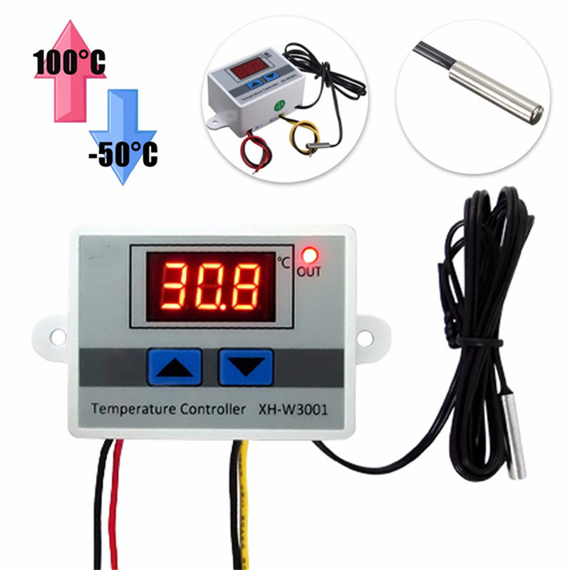 XH-W3001 220V 10A Digital LED Temperature Controller Thermostat Control Switch Probe digital led thermometer temperature controller ac220v 10a thermostat incubator control microcomputer probe weather station m12
