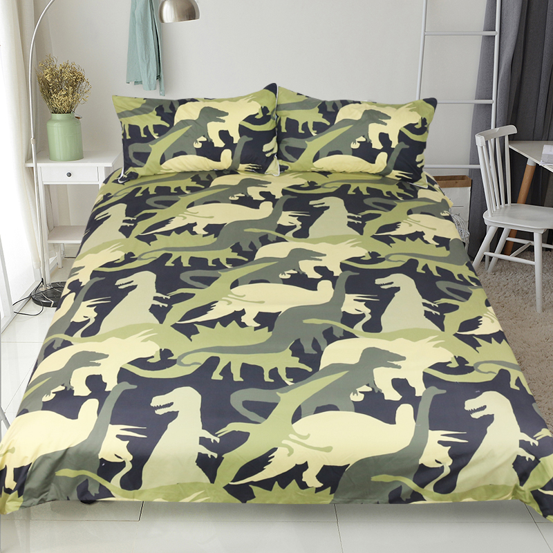Beddingoutlet Dinosaur Troops Bedding Set Queen Size Duvet Cover Animal Camouflage Print Bedspreads For Kids Bed 3pcs In Sets From Home