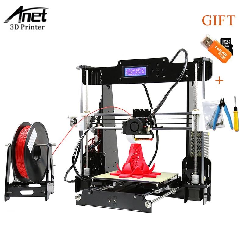 Aluminium Frame FDM Anet A8/A6 Easy Assemely 3D Printer Large Print Size Reprap i3 DIY 3D Printer Kit With SD Card 1KG Filament aluminium desktop fdm anet a8 a6 a3s a2 3d printer large printing size reprap i3 diy 3d printer kit with sd card 10m filament