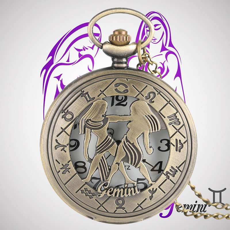 Gemini Zodiac Stylish Necklaces Quartz Pocket Watches Constellations Vintage Pendants Jewelry Men Women Children Birthday Gifts