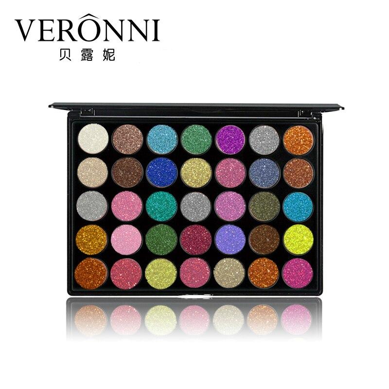 VERONNI Brand 35 Color Glitter Eyeshadow Palette Waterproof Makeup Kit Metallic Diamond Shine Shimmer Eye Shadow Powder Cosmetic