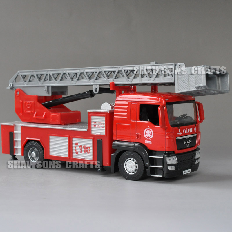 1Pc Miniature Fire Engine Truck Fire Rescue Car Crane Vehicle Model Toy 1//50