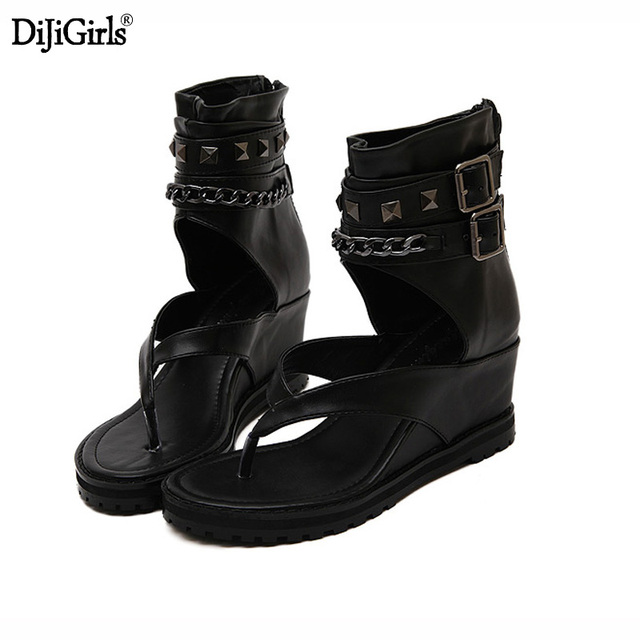 98595e882f Home > Summer platform sandals Ankle shoes punk Chain rivets gladiator  sandals women flip flops womens shoes heels and wedges sandal. Previous.  Next