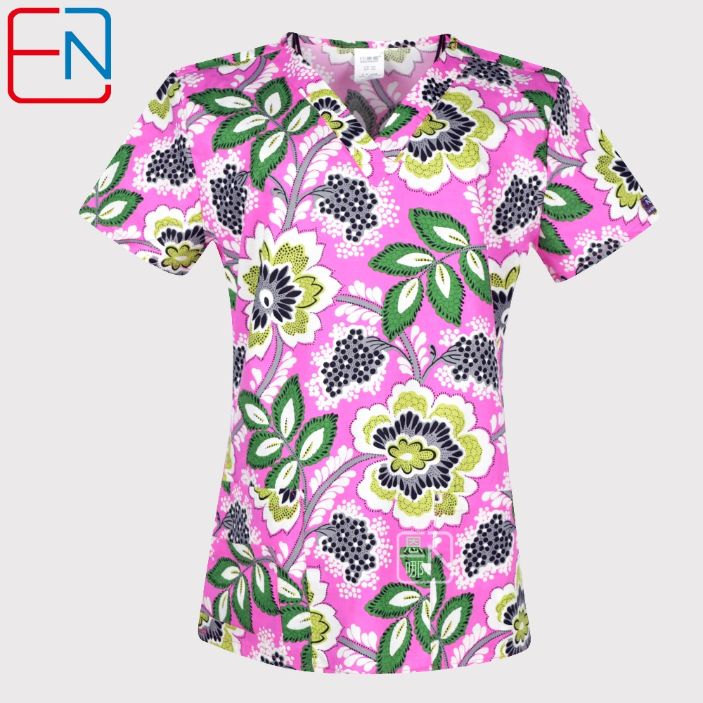 Hennar Print Women Medical Scrub Tops Short Sleeve  Medical Uniforms With V Neck In Floral Design