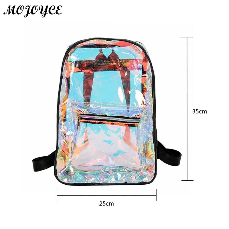 New Transparent Holographic Backpack Korean Style Small Rucksack For Girls Shining Hologram Shoulder Bags Mochilas Feminina #6