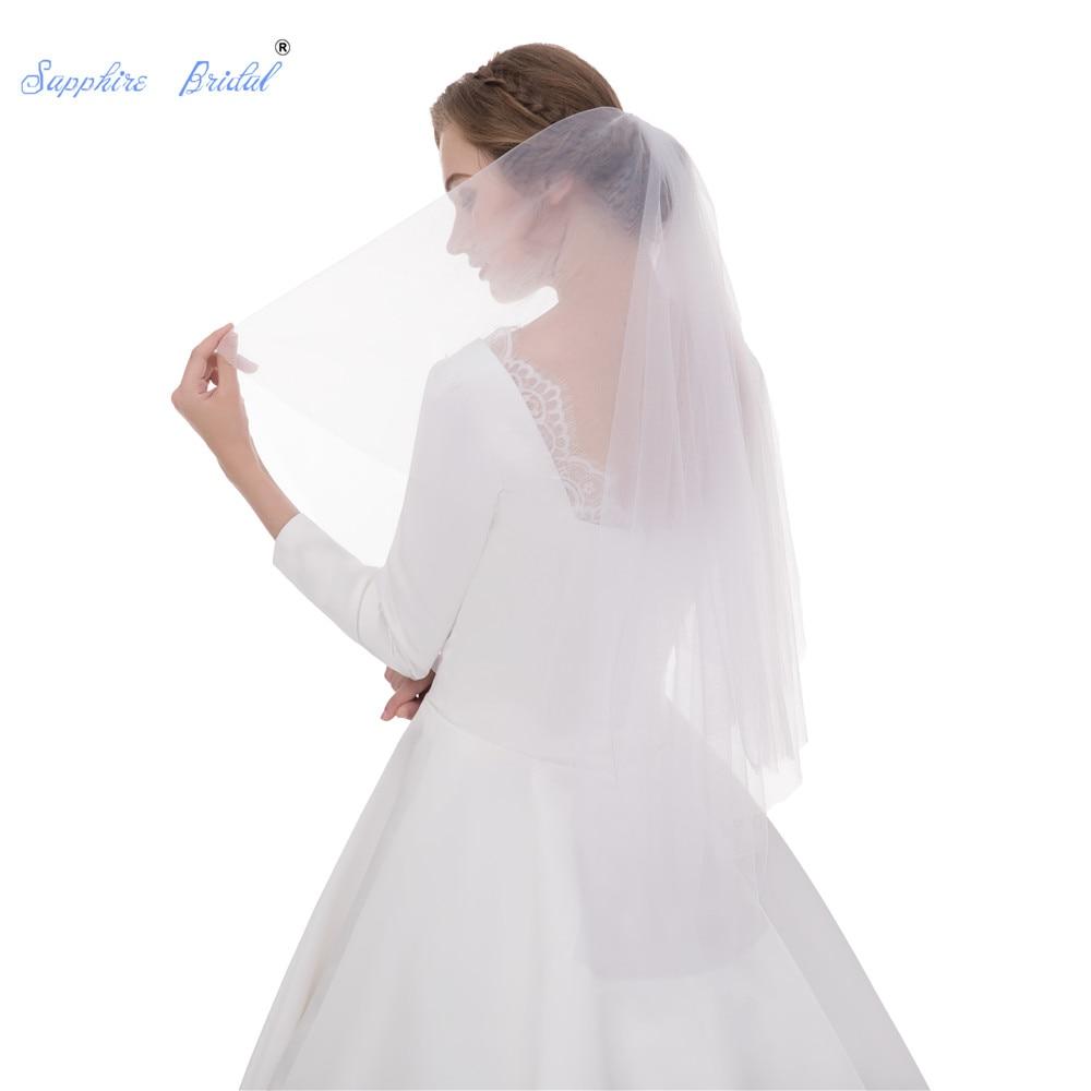 Sapphire Bridal Elegant Velo De Novia Voile Mariage Duvak Voile De Mariee White Simple Fashion Short Cheap Wedding Bridal Veil