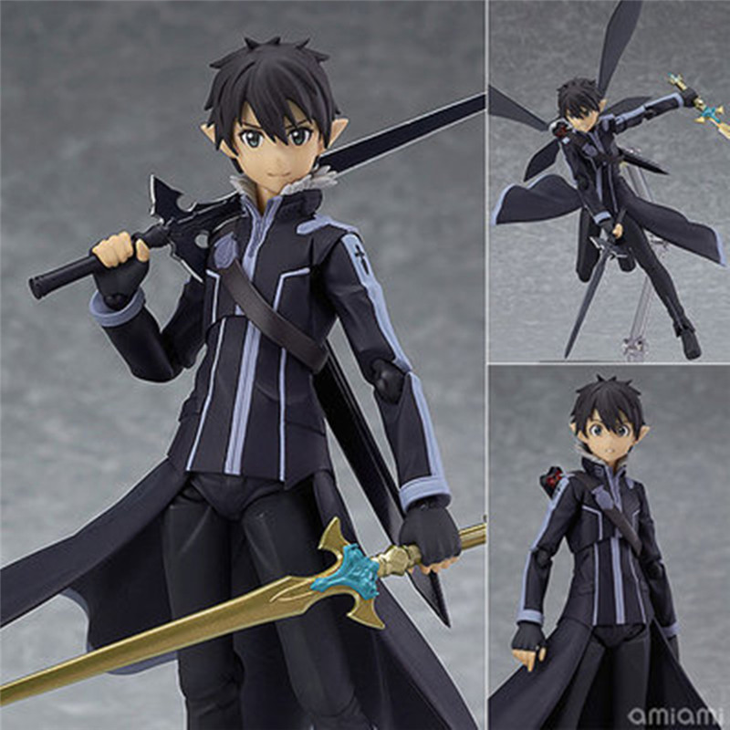 Japanese Anime Sword Art Online II Kirito ALO Ver. SAO Figma 289 PVC Figure 15cm/6in No Retail Box Collection sword art online ii kirito alo ver figma 289 pvc action figure collectible model toy 14cm