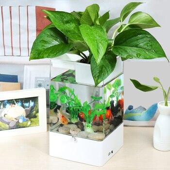 multicolour Fish tank with LED light + USB  Mini Small acrylic plastic Aquarium Office desk transparent Fish bowl Originality 1