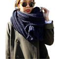 2016Korean Design Romantic Lovers's Scarf Thick Scarves For Women Warm Winter Scarf Solid Men's Knitted Scarves Female Navy LICs