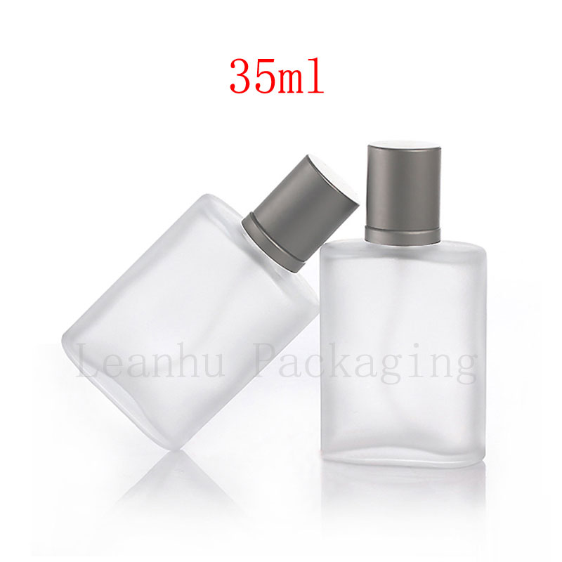 35ml Empty Frosted Perfume Glass Bottle Fine Spray Frosting Oblate Glass Container With Mist Sprayer Pump , Transparent Vial glass bottle