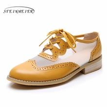 Femmes en cuir véritable chaussures plates oxford pour femmes vintage grande taille chaussures plates pour femme oxfords chaussures femme mocassins baskets 2020 été