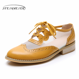 Image 1 - Women Genuine leather flats oxford shoes for women vintage plus size lady flats oxfords shoes woman loafers sneakers 2020 summer