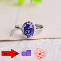 Promotion Wedding Jewelry 2 Carats Natural Blue Sapphire Rings Fashion Female Tanzanite Stone Pure Solid 925