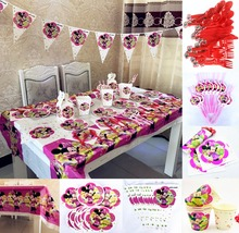 82pcs Minnie Mouse Birthday Party Supplies Table Covers Napkin Banner Straw Tableware Set Baby Shower Christmas Decorations