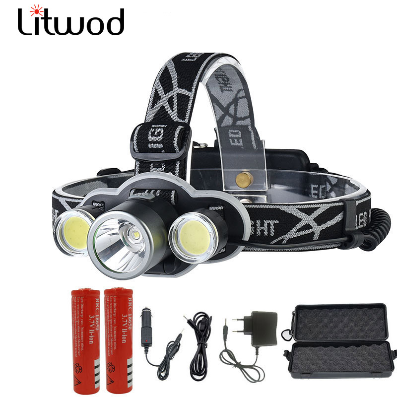 Litwod z20 9000 Lumen  LED Headlamp XML T6+2COB LED Head Lamp  Head Torch 18650 Rechargeable for camping night run
