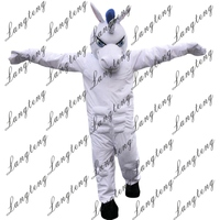 Hot Sale White Unicorn Horse Mascot Costume Adult Size Halloween Outfit Fancy Dress Suit Free Shipping 2019New
