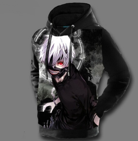 Tokyo Ghoul Hoodies Mens Hooded Pullovers Ken Kaneki Printed Male Hoody 3D Printing Hooded Sweatshirts Free Shipping