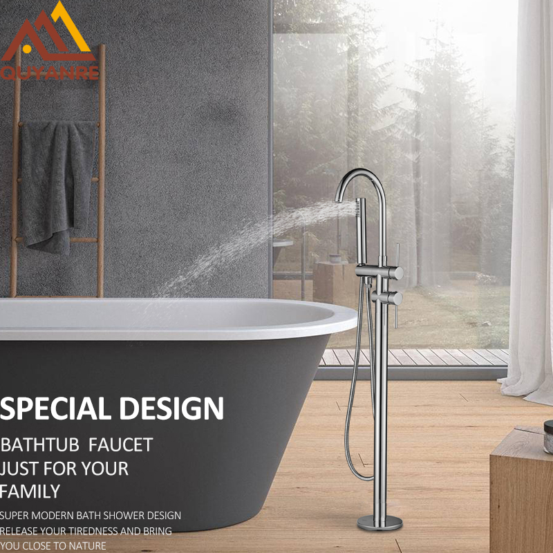 цена на Quyanre Black Nickel Chrome Bathtub Shower Faucet Two Way Floor Standing Faucet Single Handle Bathtub Mixer Taps Bath Shower