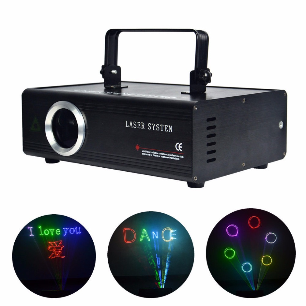 AUCD RGB 1W 24 Channel DMX Laser Projector Stage Lighting PRO ILDA SD Card Source DJ Disco Show Scanner Lights DA-F1000 boss sd 1w%3