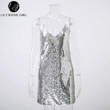 Deep V Neck Silver Sequined Backless Sexy Dress Women Off Shoulder Mini Dress Short Christmas Party Club Strap Dresses Vestidos