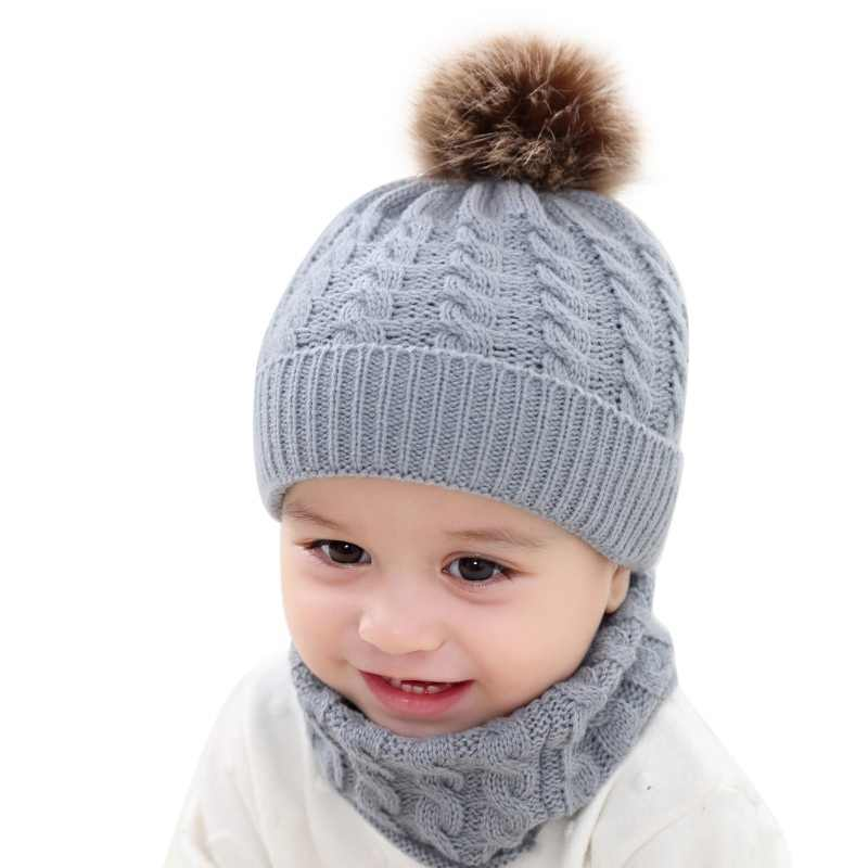 Baby Hat For Girls Boys Baby Accessories Set Winter Warm Beanie Caps+Scarfs Baby Cap Suit