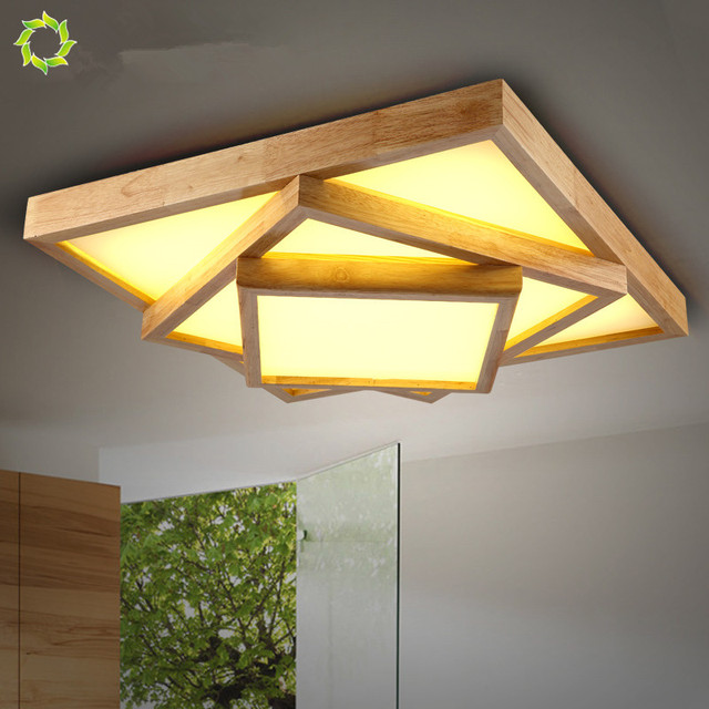 Ceiling Light Japanese: Japanese Tatami Wood LED Ceiling Lamp Simple Wooden