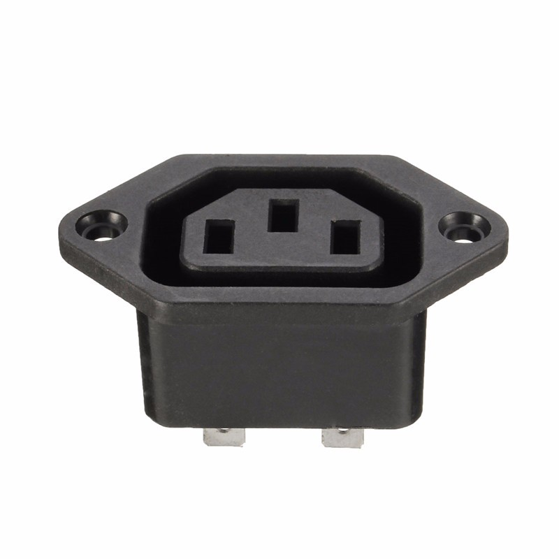 Chassis Female 15A/250V 3PIN 05231 AC IEC C13 C14 Inline Socket Plug Adapter Mains Power Connector Power Supply Output Outlet 1 set 3 pin powercon light power plug socket speakon connector male female nac3fca nac3mpa 1 chassis panel mount power adapter
