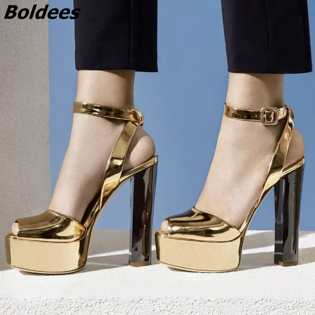 New Arrival Patent Leather/Sequins Platform Sandals Women Shoes Buckle Style Chunky High Heels Sandals Lady Block Heel Pumps апплика цветной картон кораблик 20 листов 10 цветов