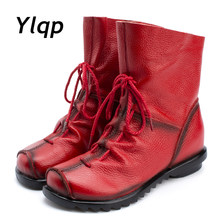 2018 Vintage Style Genuine Leather Women Boots Flat Booties Soft Cowhide Women's Shoes Front Zip Ankle Boots zapatos mujer(China)