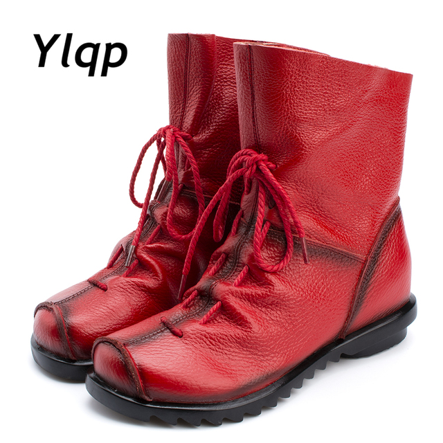 2018 Vintage Style Echtes Leder Frauen Stiefel Flache Booties Weiche Rindsleder Damenschuhe Front Zip Stiefeletten zapatos mujer