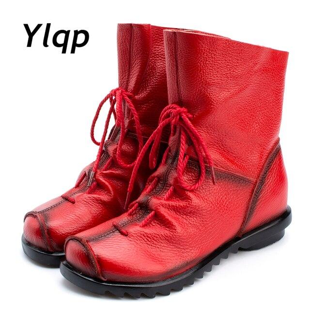 2018 botas de cuero genuino de Estilo Vintage para mujer Botines planos zapatos de piel de vaca suave con cremallera frontal botas de tobillo zapatos mujer