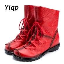 ヴィンテージスタイルの本革の女性のブーツフラットブーツ牛革女性の靴フロントジッパーアンクルブーツ zapatos 2019 mujer
