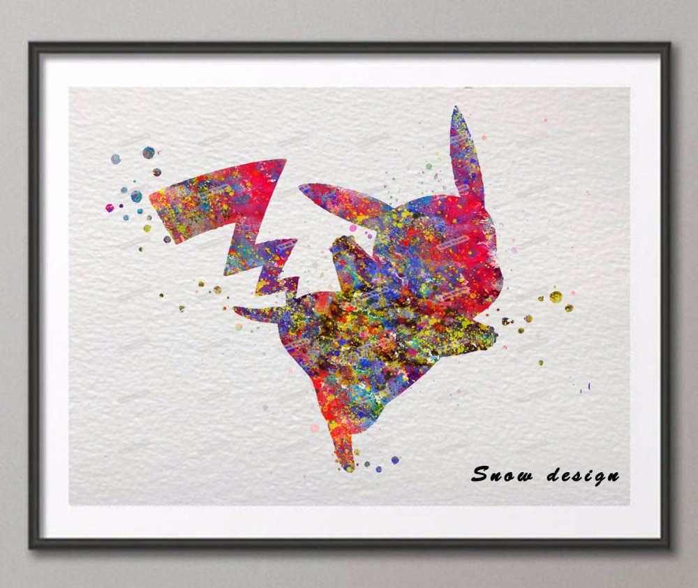 Howling Original Pikachu Pokemon Watercolor Canvas Painting Anime Wall Art Posterprint S Home Decor Wall Hanging Original Pikachu Pokemon Watercolor Canvas Painting Anime Wall Art inspiration Watercolor On Canvas