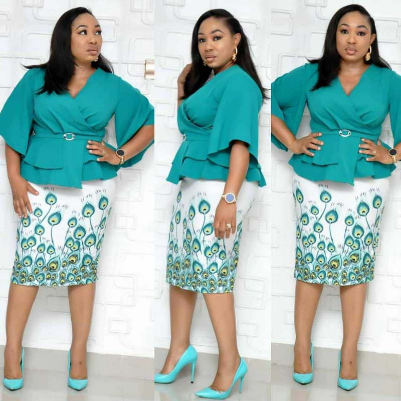 African Clothes Ruffles Bodycon Dress Women 2019 Deep V-Neck Flare Sleeve Pencil Dress Belt Office Lady High Quality L-XXXL