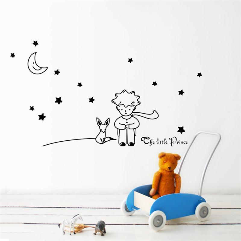 HTB1xW7AMpXXXXbJXXXXq6xXFXXXG - popular book fairy tale the Little Prince With Fox Moon Star wall sticker for kids room
