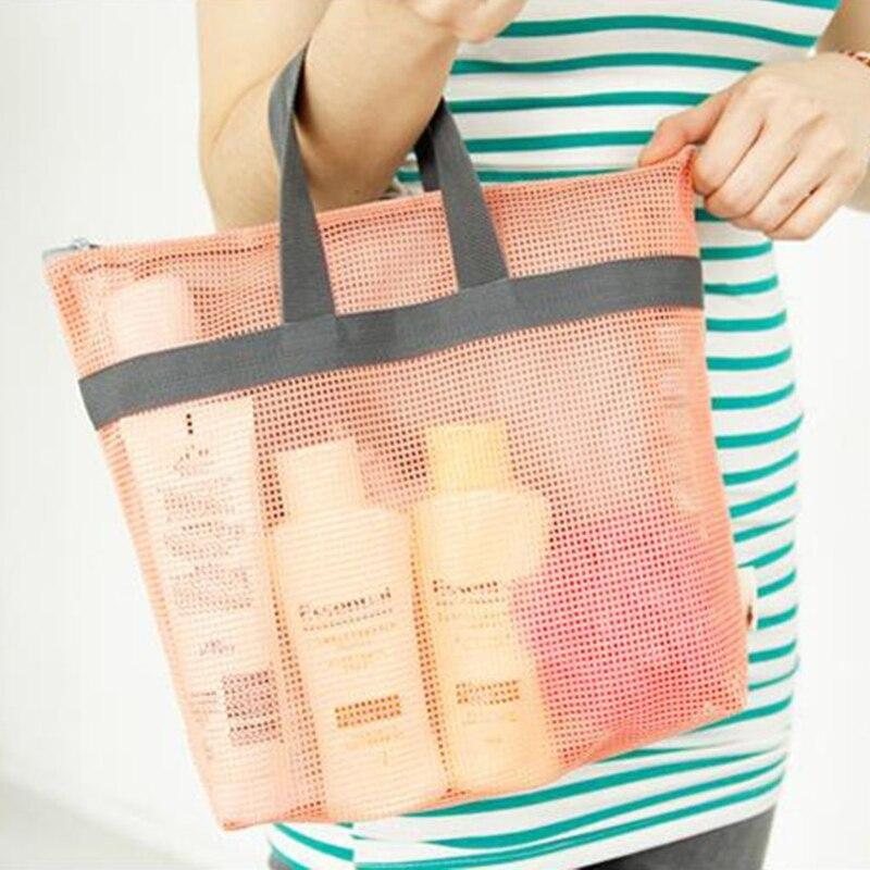 THINKTHENDO Large Mesh Tote Beach Bag Cosmetic bag Makeup Bags Shopping Grocery Shoulder Handbag Purse Zipper Bags Casual New сумки для детей zipit сумка premium tote beach bag