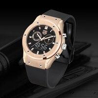TVG 2019 New Rose Gold White Light Luminous Dual Display Quartz Watch PU Watch Band Waterproof LED Digital Watch Men Sport Watch