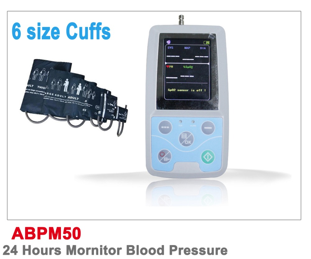 Free shipping with PC software Digital Blood Pressure Monitor & Heart Beat Meter with LCD display ABPM50 CE,FDA approved v cut wooden makeup organizer