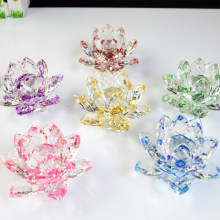 80mm Colorful Crystal Glass Lotus Flower Natural Stones Feng shui Crystal flowers For wedding souvenirs
