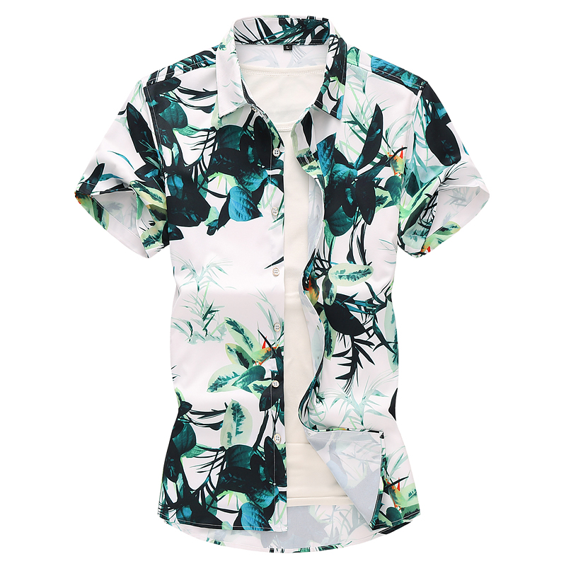 Hawaiian Shirt Dress Plant Flowers Green Floral Mens Shirts Short Sleeve Blouse Men Beach Leisure Style Fashion Summer Plus Size