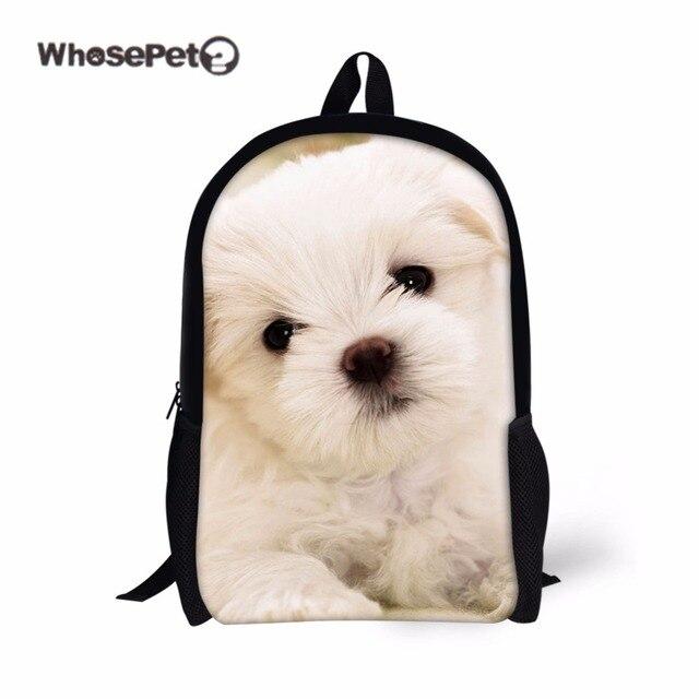 e94225e61560 WHOSEPET White Dogs Cute Backpack for Women Girl Travel Shoulder Bags  Kawaii Zoo Knapsacks Portfolios for Schools New Book Bag